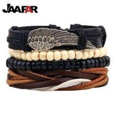 Hot selling 1Set 4pcs Punk Braided Adjustable Leather Bracelets Men For Women Cuff Vintage Jewelry  #jewelleryonline #onlinejewelry #jewellery #jewelry #jeweleryshop #jewellerystore #myinstagram