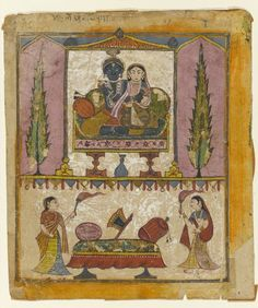 """Lakshmi Naryana. Frontispiece from the """"Tula Ram"""" Bhagavata Purana,  Opaque watercolor, gold and silver on paper, India, ca. 1650, Brooklyn Museum"""