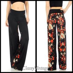 RESTOCKED black palazzo pants w/red floral back. Beautiful wide leg pants with a high waist or roll down waist. These are 11 ounces in weight and are 92% polyester and 8% spandex. Silky stretchy fabric. Waist 29, inseam 34 inches length is 47.5 and bottom is 28 inches. These are size large. Boutique Pants Wide Leg