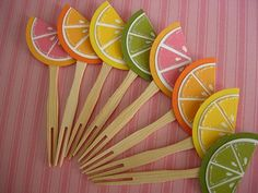 Juicy Orange Lemon Lime and Pink Grapefruit Party Picks Cupcake Toppers Birthday Baby\/Bridal Shower Easy Party Decorations, Fruit Decorations, Cocktail Cupcakes, Pink Lemonade Party, Summer Party Themes, Lemon Party, Oranges And Lemons, Pink Grapefruit, Cupcake Party