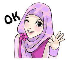 Sweet Hijab Girl - Stiker LINE | LINE STORE Love Is Cartoon, Cute Cartoon Pictures, Cute Love Cartoons, Cartoon Pics, Girl Cartoon, Cartoon Stickers, Cute Stickers, Emoji People, Muslim Greeting