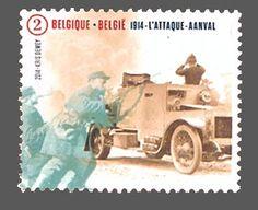 1914, Minerva armored car, Belgian stamp 2014