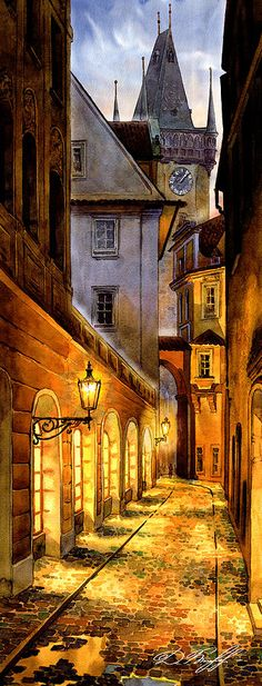 Digital Watercolor Painting - Prague Street Melantrichova by Dmitry Koptevskiy Day Trips From Prague, Prague Old Town, Prague Castle, Prague Nightlife, Prague Restaurants, Street Painting, City Painting, Prague Bars, Prague Food