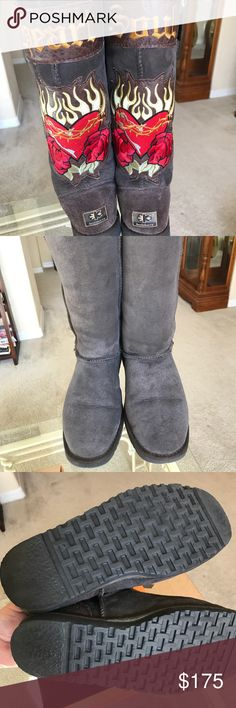 "Koolaburra brown sheepskin boots....Heart & Soul Authentic Koolaburra chocolate sheepskin boots. Purchased at Neiman Marcus. Size 7. Previously worn but in excellent condition. 14"" from heel to top of boot. Leather patchwork. Sheepskin inside. Also, the insoles do come out and can be replaced Koolaburra Shoes Winter & Rain Boots"