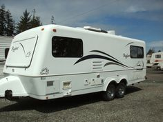 Big Foot travel trailer. Fiberglass, light, compact, what's not to love?  The best of the small fiberglass trailers.