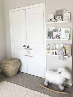 Bennett's light and airy neutral nursery with floating book shelves. Bennett's light and air Nursery Room, Girl Nursery, Girl Room, Floating Bookshelves, Book Shelves, Nursery Bookshelf, Baby Boy Rooms, Baby Girls, Baby Nursery Neutral