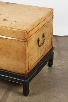 White Leather Chinese Trunk on Stand