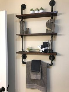 Bathroom shelves with towel rack Reclaimed Wood Industrial Pipe Rustic Industrial Shabby Chic Steampunk design Hampton Industrial Kitchen Remodel Ideas Bathroom Chic Design Hampton industrial Pipe Rack reclaimed Rustic Shabby Shelves Steampunk towel Wood Bathroom Towel Storage, Bathroom Organization, Bathroom Ideas, Bathroom Mirrors, Master Bathrooms, Bathroom Cabinets, Kitchen Cabinets, Marble Bathrooms, Condo Kitchen