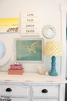 White Distressed Chalky Paint Dresser Makeover at The Happy Distressed White Bedroom Furniture, Rustic Painted Furniture, Distressed Dresser, Paint Furniture, Furniture Makeover, Chalk Paint Dresser, Chalky Paint, Painted Dressers, Chalk Painting