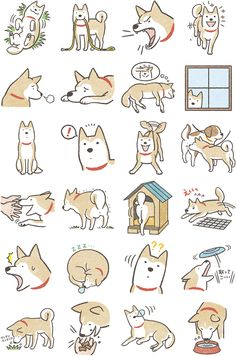 "Cartoon-like Dog illustrations | ""Shiba Inu"" Facebook Stickers (636×960)"