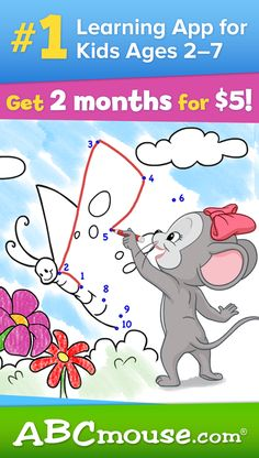 Take advantage of our $5 for 2 months offer! Online preschool, pre-k, kindergarten and first grade for kids 2-7. Learn more at www.ABCmouse.com! #ABCmouse