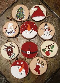Various painted wood slice ornaments that include snowmen, stockings, deer and trees - 25 Rustic Wood Slice Christmas Decor Ideas Just in time to decorate your Christmas tree! Set of 10 ornaments made wood slices. Gonna rock rustic decor this Christmas? Diy Christmas Ornaments, How To Make Ornaments, Holiday Crafts, Wood Ornaments, Wooden Christmas Decorations, Snowman Ornaments, Christmas Decorating Ideas, Decorating Ornaments, Christmas Coasters
