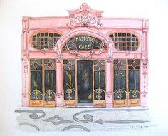 aquarelle: le café Majestic à Porto, via Flickr.