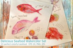 Posted by @newkoko2020 Delicious Seafood Watercolor Set by anastasia.mazeina on @creativemarket
