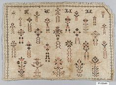 Sampler, possibly Swiss, 19th century, silk on linen