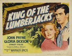 """John Payne Double Bill of """"B""""s …. King of the Lumberjacks and Kid Nightingale John Payne Actor, Actor John, Rodeo Movies, Two Movies, Film Studies, Vintage Movies, Warner Bros, American Actors, Lumberjacks"""