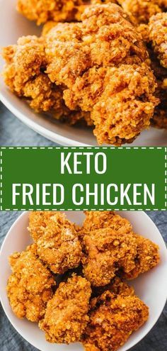 These are the best keto fried chicken thighs! Super crispy and crunchy, just like the real deal. Easy to make and breaded using almond flour and parmesan cheese, these low carb and gluten free chicken bites are fried (not oven baked) in vegetable oil. Keto Chicken Thighs, Fried Chicken Recipes, Low Carb Fried Chicken, Gluten Free Fried Chicken, Keto Chicken Thigh Recipes, Chicken Fried Chicken, Chicken Cake, Keto Chicken Wings, Oven Baked Fried Chicken