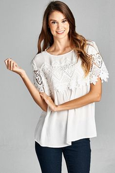 White Top with Lace Detailing