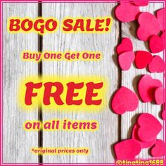 Buy 1 Get 1 Free Sale!!!( please share) *original prices only Excludes the Coach handbag and the D&G jewelry and natural garnet jewelry IF YOU'RE INTERESTED JUST LMK AND I WILL MAKE A NEW LISTING FOR YOU. Expires: 2/22/16 Coach Bags