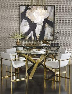 Too much for me, but Black white and gold would lift the dining room.  High Fashion Home -- Gold Interior