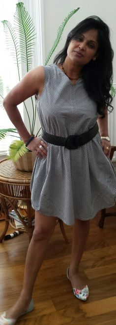 My Summer collection - Checked Navy blue & White Trapeze Dress, worn with a wide belt to accentuate the waistline. Perfect casual smart office wear