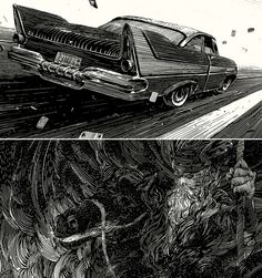 ArtistNicolas Delortlives and works in the suburbs of Paris where he creates evocative and imposing illustrations using ink and scratchboard.  For Neil Giaman's American Gods.