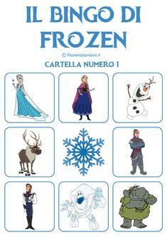 Abbiamo creato il gioco bingo di Frozen da stampare gratis per il divertimento dei bambini: 9 cartelle e i dischetti per l'estrazione in PDF da scaricare e stampare