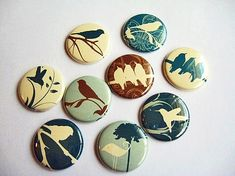 9 Bird Fridge Magnets Wine Charms Pins Home & by PipingHotPapers, $11.00