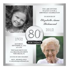 "Silver Birthday Invitations Then & Now Photos.Create your own elegant Birthday Surprise Party Invitations. Classic executive style black and silver for men or women, personalized with double photo frame inserts for ""Then & Now"" pictures 90th Birthday Invitations, Surprise Party Invitations, 90th Birthday Parties, Birthday Celebration, 90 Birthday Party Ideas, Birthday Banners, Surprise Birthday, 1st Birthdays, Birthday Gifts"