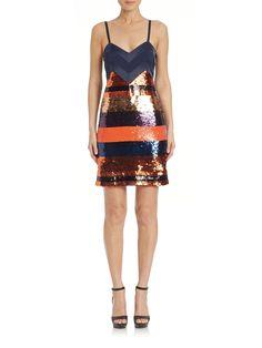 Satin Sequined Tank Dress