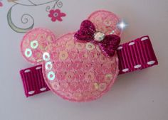 MINNIE MOUSE mickey Gift SET of 3 Hair Clips  by HairBowHolders, $9.85