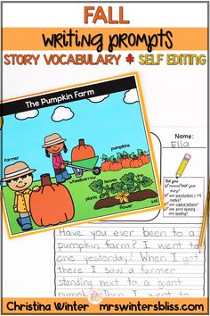 Encourage your students with these writing prompts. Each prompt has a story specific vocabulary word bank to assist young writers in brainstorming ideas and spelling word while writing. Students will also edit their own work, with the self editing checklists. These writing prompts are perfect for small group writing, literacy center activities, homework, morning work writing. mrswintersbliss.com #elementarywritingprompst #seasonalclassroomwriting