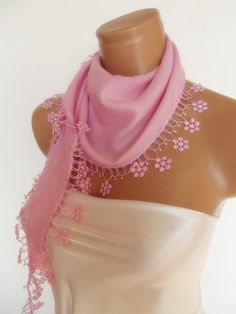 New Design Pashmina scarf with lace soft pink by smilingpoet, $18.90