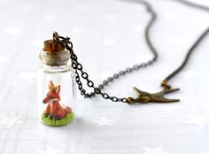 Necklace Tiny fox in bottle.  Woodland Terrarium by HoKiou on Etsy, $45.00