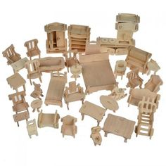 Dollhouse Mini Furniture Set - 34 piece