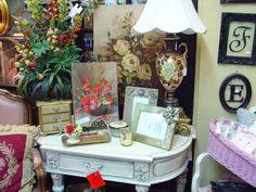 White antique painted furniture desk. http://www.camillesantiqueboutique.com