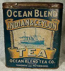 Ocean Blend India & Ceylon Tea tin ... artwork of steamship or ocean liner at sea, primarily blue with cream and gold lettering, for the Ocean Blend Tea Co. of Toronto and Peterboro, Ontario, early-mid 20th century, Canada