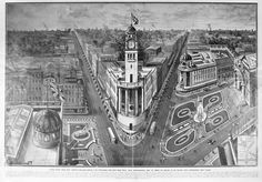 An imagined plan for the Auckland Town Hall and surrounding gardens, Illusions of Europe with tree lined boulevards and grandiose structures Tree Line, Town Hall, Cartography, Auckland, Illusions, Gardens, Europe, Outdoor Gardens, Optical Illusions