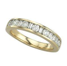 0.73 Carat Baguette Diamond 14K Yellow Gold Women Rings 3.45g: Ring Size: 7 (Sizable)