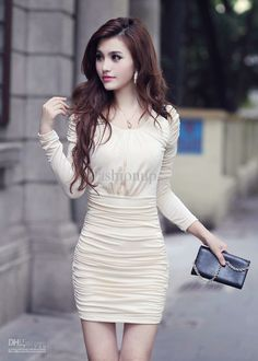 Ivory ruched dress High Fashion Outfits, Womens Fashion, Ladies Fashion, Sexy Dresses, Cute Dresses, Midi Cocktail Dress, Ruched Dress, Long Sleeve Mini Dress, Beautiful Asian Girls