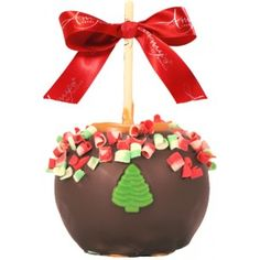 Christmas Curls Caramel Apple w/ Dark Belgian Chocolate - For more information please visit: http://www.amysgourmetapples.com/gifts-by-season/christmas-gifts/christmas-curls-caramel-apple-w-dark-belgian-chocolate.html