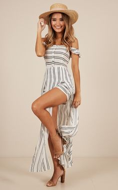 Thinking Bout You Maxi Dress In White Stripe Maxi Playsuit, Cute Maxi Dress, Wide Brimmed Hats, Strapless Maxi, Long Torso, Lace Up Flats, White Dress, Jumper, How To Wear