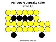 School Bus Pull-Apart Cupcake CakeTemplate
