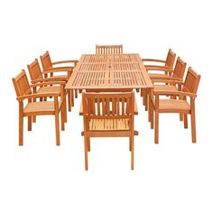 Eco-Friendly 9-Piece Wood Outdoor Dining Set with Rectangular Extension Table and Stacking Chairs V232SET32