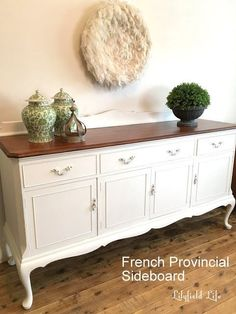 French Provincial Sideboard - White and Timber