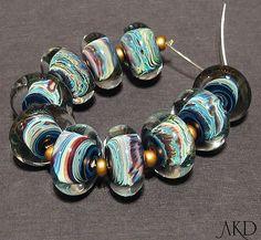 Handmade Lampwork Glass Beads SRA Teal Discs by AKDlampwork, $78.00