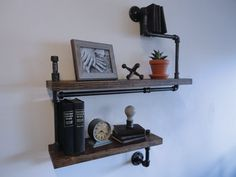 Industrial Black Pipe Two Tier Shelf the Wiggins by Mobeedesigns