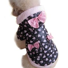 Winter Coat Cute Pink Butterfly Tie Dog Warm « Pet Lovers Ads