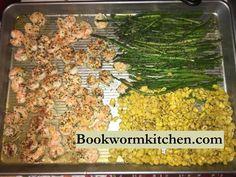 Shrimp, Corn, and Asparagus Over Rice