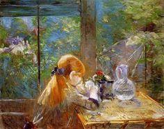 Berthe Morisot, On the Veranda on ArtStack #berthe-morisot #art
